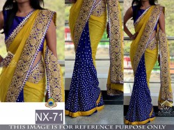 Yellow & Blue Georgette saree