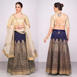 BLUE & CREAM BANGLORI SILK LEHENGA CHOLI