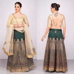GREEN & CREAM BANGLORI SILK LEHENGA CHOLI