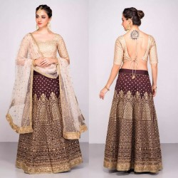 COFFEE & CREAM BANGLORI SILK LEHENGA CHOLI