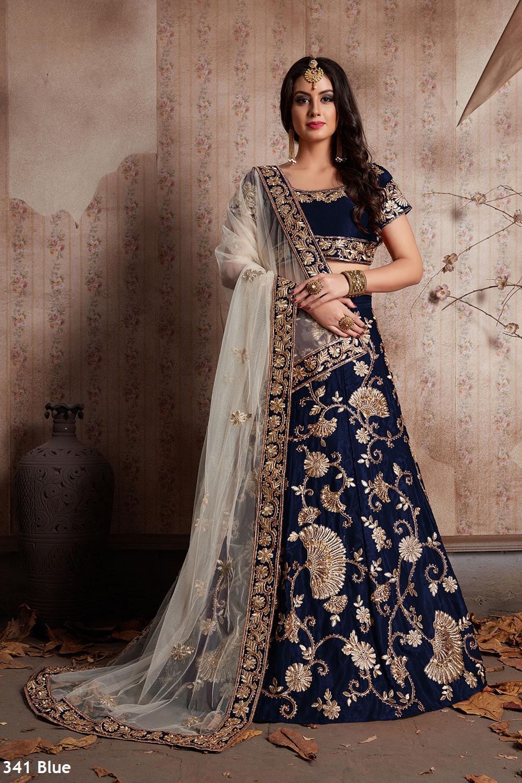 Blue Off White Velvet Silk Lehenga Choli Indian Couture