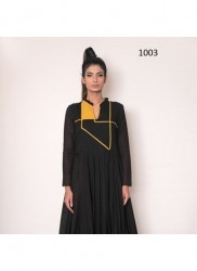 Black Rayon Readymade Gown