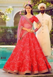 RED PANTOM SILK LEHENGA CHOLI