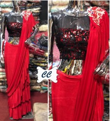 PURE LYCRA READY TO WEAR  RED SAREE