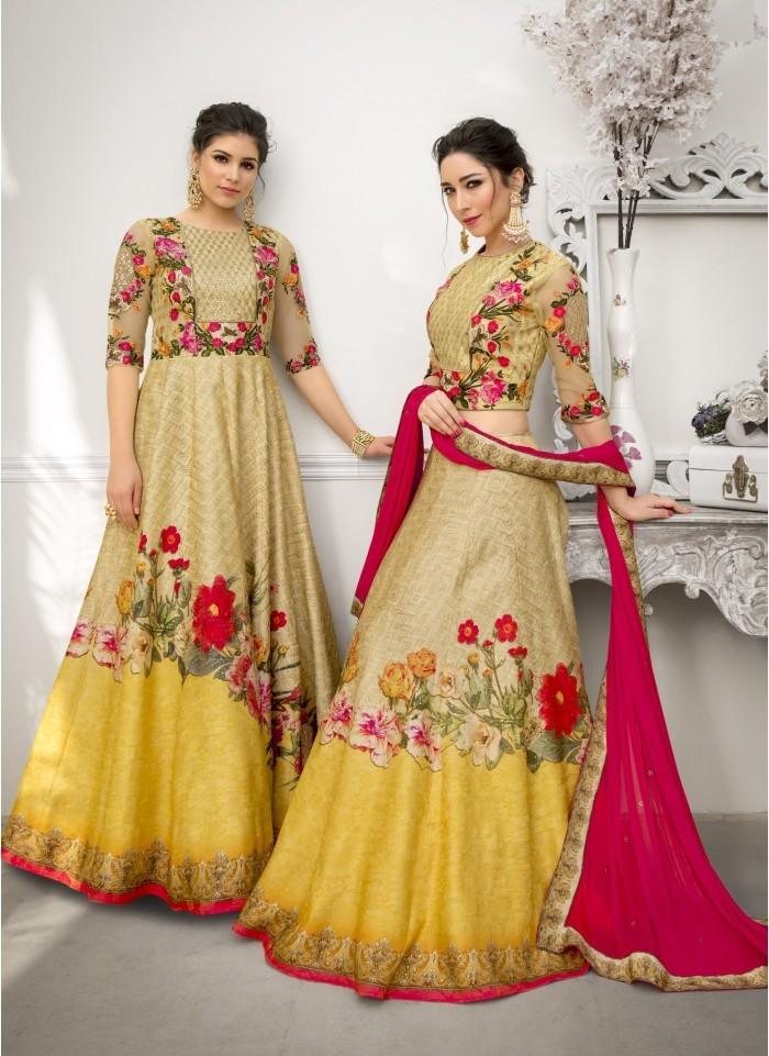 b25c9a3d75 Multicolor Heritage Banarasi Silk Digital Printed Lehenga Choli ...