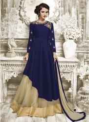Blue Tapeta Silk Ankle-Length Readymade Suits