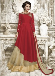 Red Tapeta Silk Ankle-Length Readymade Suits