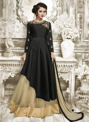 Black Tapeta Silk Ankle-Length Readymade Suits