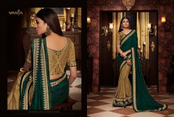 Green & Gold Georgette Satin Embroidery Saree