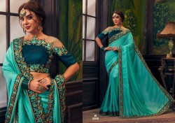 Teal Blue Cherry Silk