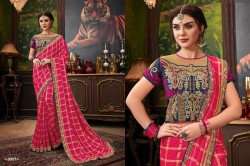 Dark Pink Checks Silk Saree