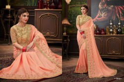 Light Peach Dola Silk Saree