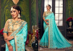 Sky Blue Dola Silk Saree