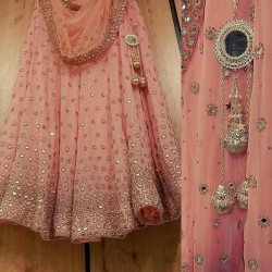 PEACH  GEORGETTE LEHENGA CHOLI