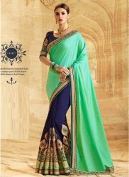 Blue & Sea Green Georgette Embroidery Saree