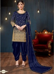 Blue Taffeta Silk Glass Work Salwar Suit