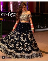 LIGHT BLUE VELVET LEHENGA CHOLI