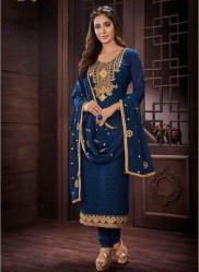 Navy Blue Georgette Salwar Suit