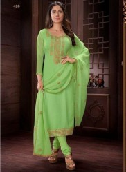 Lime Green Georgette Salwar Suit