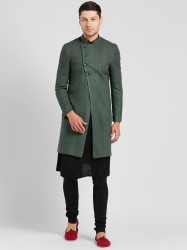 Men Green & Black Sherwani Set