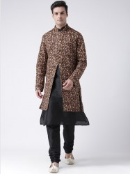 Men Brown & Black Printed Sherwani With Achkan