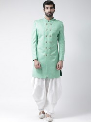 Men Green & White Sherwani With Dhoti Pants