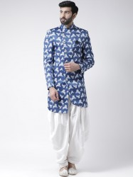 Men Blue & White Sherwani With Dhoti Pants