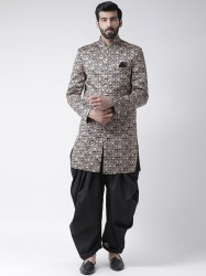 Men Black Sherwani With Dhoti Pants