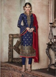 Blue Pure Banglori Silk Jacquard Straight-Cut Salwar Suit