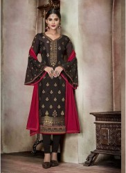 Brown Pure Banglori Silk Jacquard Straight-Cut Salwar Suit
