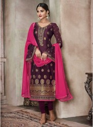 Dark Purple Pure Banglori Silk Jacquard Straight-Cut Salwar Suit