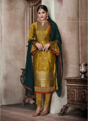 Olive Yellow Pure Banglori Silk Jacquard Straight-Cut Salwar Suit