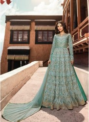 Sky Blue Silk Ankle -Length Salwar Suit