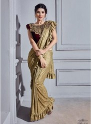 Gold Imported Lycra Frill Saree