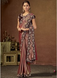 Maroon Shimmer Lycra Ready-To-Wear Saree