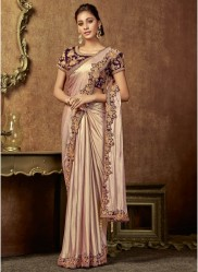 Light Peach Shimmer Lycra Ready-To-Wear Saree