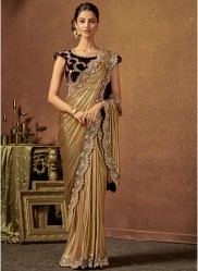 Gold Shimmer Lycra Ready-To-Wear Saree