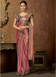 Magenta Shimmer Lycra Ready-To-Wear Saree