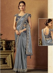 Silver Shimmer Lycra Ready-To-Wear Saree
