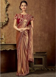 Red & Gold Shimmer Lycra Ready-To-Wear Saree