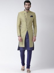 Yellow & Navy Blue Printed Sherwani Set