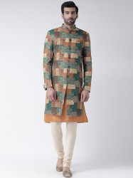 Multicoloured Printed Sherwani Set