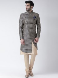 Navy Blue & Beige Sherwani Set