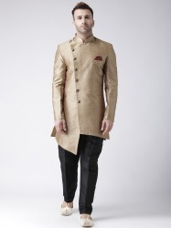 Khaki-Coloured & Black Sherwani Set