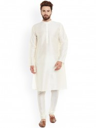 Off-White Solid Kurta with Churidar