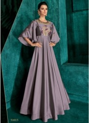 Purple Triva Silk With Heavy Embroidery Inner Stitched Floor-Length Readymade Gown