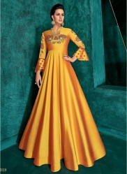 Yellow Triva Silk With Heavy Embroidery Inner Stitched Floor-Length Readymade Gown