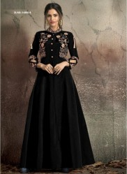 Black Soft Tapeta With Stitched Koti Style Floor- Length Readymade Gown