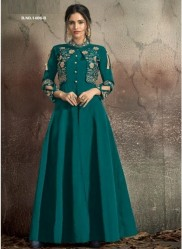 Teal Blue Soft Tapeta With Stitched Koti Style Floor- Length Readymade Gown