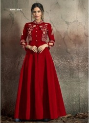 Dark Red Soft Tapeta With Stitched Koti Style Floor- Length Readymade Gown